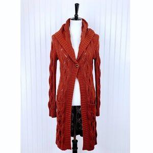 Sweaters - Karen Kane Orange/Rust Open Weave Long Cardigan, M